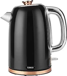 Tower T10023 快速煮沸水壶,带有煮沸干燥保护,自动关闭功能,静音,不锈钢,3000瓦,1.7升,黑色,玫瑰金