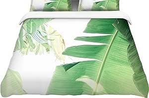 "KESS InHouse 被套 Ann Barnes ""香蕉叶 I""绿色白色羽毛重量羽绒被套 68"" X 88"" AB2051ACD01"