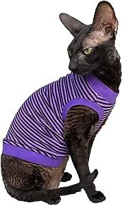 Kotomoda Cat wear T 恤 紫色 - 黑色条纹 XL