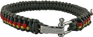 Pet Labs Paracord 狗狗项圈,灰色,黑色,红色黄色点缀 灰色、黑色、红色、黄色 21.25in / 54cm