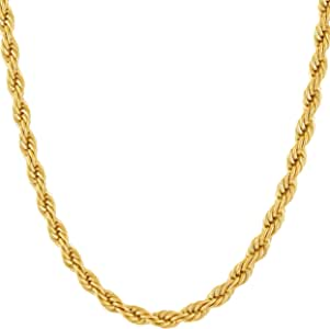 终身珠宝金色链项链 [ 5mm 绳链] 镀层比其他项链链多 20 倍 24k - 男女皆宜的耐用金色项链,免费终身更换*