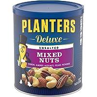 PLANTERS 奢华无盐混合坚果,15.25盎司/432克,可重新密封的容器  各种无盐坚果,包括腰果,杏仁,榛子,开心果和山核桃  零食分享装