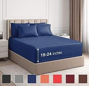 CGK Unlimited 超深口袋床单 - 7 件床单套装 - 分离式大号双人床床单 深口袋 - 超深床单 - 53.34 厘米深口袋 *蓝 加州King size