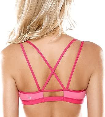 CRZ YOGA 女士专业运动内衣 带垫无钢圈 交叉后背 活力炫彩瑜伽文胸 轻运动健身运动内衣 抹胸款 混合色 #7 XL