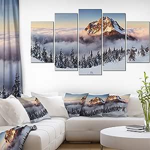 "Designart Winter Mountain 景观照片帆布艺术印刷品 60x32"" - 5 Panels Diamond Shape PT7041-373"