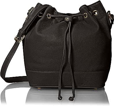 Belle & Bloom 女士 Alexa 皮革桶包,黑色