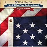 American Flag by USA Flag Co. 美国制造,刺绣星星和缝制条纹旗帜 3 by 5 Foot Old Glory Blue and Red, Stars and Stripes