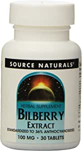 Source Naturals Bilberry Extract 100mg, Standardized Botanical Antioxidant, 30 Tablets