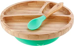 Avanchy Baby 学步儿童喂食板竹子 - Stay Put Suction Divided Plates Plus 婴儿勺 绿色