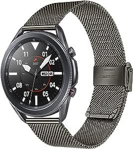 TRUMiRR 表带适用于 Galaxy Watch 3 45 毫米,网眼编织不锈钢表带快速释放表带手链适用于三星 Galaxy Watch3 45 毫米智能手表
