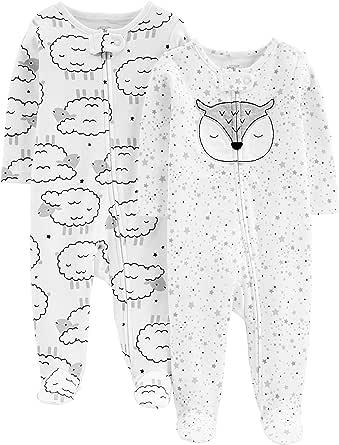 Simple Joys by Carter's 婴儿 2 件装棉质连脚睡衣