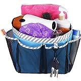 Mesh Shower Caddy 手提袋,大型大学宿舍浴室收纳袋,带钥匙钩和 2 个牛津手柄,快速固定,8 个篮筐口袋,适合露营健身房