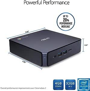 华硕 CHROMEBOX3-N003U 台式电脑 - (黑色)(英特尔赛扬 3865U 1.8 GHz,4 GB 内存,32 GB SDD,铬 OS) - Google Play Enabled
