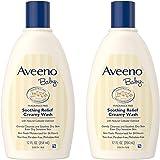 Aveeno Baby 舒缓润肤沐浴乳,为干性敏感性皮肤设计,12液体盎司(354ml)/瓶,2瓶装