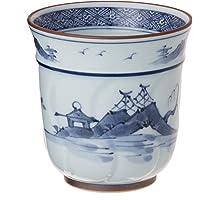 Ranchant(Ranchant) 仅特大热水(带腰肌染蓝) 白色 Φ8.8x9(cm) 枯淡山水 有田烧 日本制造