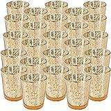 Just Artifacts 水星玻璃烛台 6.99 厘米高(25 件,光谱金色)-水星玻璃Votive Tealight 蜡烛台,适用于婚礼、派对和家庭装饰品