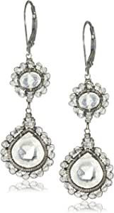 Dana Kellin Shimmering Milky Quartz Crystal Detail with Double Drop Earrings