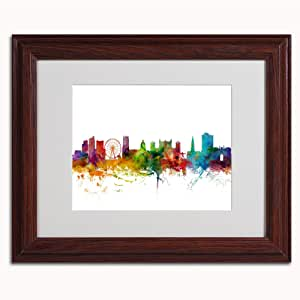 Trademark Fine Art Nottingham England Skyline II Canvas Art by Michael Tompsett, 11 by 14-Inch, Wood Frame