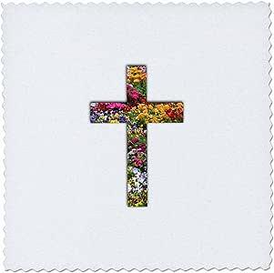 QS _ 185481inspirationzstore 基督教设计–彩色花卉基督教十字架–彩色花朵图案十字架–方块拼布