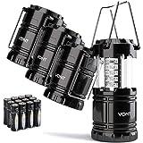 Vont 4 只装 LED 露营灯笼,飓风、紧急、风暴、停电、户外便携式灯笼,黑色,可折叠(含电池)