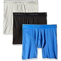 Calvin Klein 男式 超细纤维弹力 3 件装平角内裤