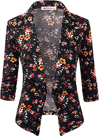 ELF FASHION 女式上衣短袖花卉蕾丝披肩前开开襟开衫(尺码 S~3XL)