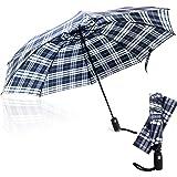 Third Floor 雨伞 - 46 英寸自动开合式反向伞 - 紧凑反向伞防风 - 大轻质上翻防紫外线旅行雨伞 - 适…