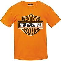 Harley-Davidson 青年*吧和盾牌橙色 T 恤 - Camp Humphreys