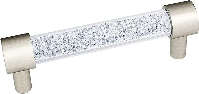 Decostyle 实心施华洛世奇元素拉门橱柜抽屉手柄多种尺寸和表面,黄铜,银色垫子,27 x 2 x 4 cm
