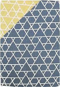 棉* 日式图案 被套 「岳」 日本制造 两面用 藏青色×黄色 敷き布団カバー/シングルロング 105×215cm 233070-72