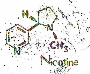"""副分子:Nicotine ~ 水彩喷溅艺术印刷。 绿色 8""""×10"""" print"""