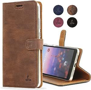 华为 P20 手机壳,Snakehive 真皮钱包带支架和卡槽,翻盖礼品盒和欧洲手工制作,由 Snakehive 为华为 P20 提供 -Huawei P20 棕色