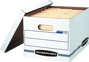 Bankers Box 储藏盒/带升降盖,信函/法律,30.48 x 25.4 x 38.1 cm,白色,6 包 (0071303)
