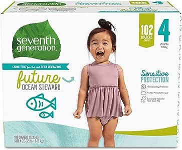 Seventh Generation *七世代 婴儿尿布 敏感肌肤用 海洋印花 4号 102片