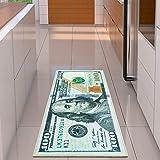 Ottomanson 新地毯 1 美元(100 美元)帐单印刷新本雅明防滑地毯地毯,55.88 厘米 x 134.62 厘米,多色
