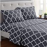 Mellanni 床单套件 拉绒超细纤维 1800 床上用品 - 深口袋,防皱,防污渍 - 低*性 Quatrefoil 银色 - 灰色 Queen 603803802873