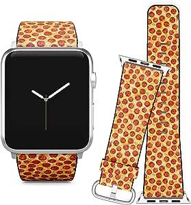 与 Apple Watch iWatch 苹果手表 iWatch 系列 5、4、3、2、1 // 软皮替换手镯表带 + 适配器 // Pepperoni 披萨食品纹理 42/44 mm