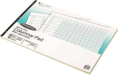 Wilson Jones ColumnWrite Columnar Pad, 11 x 16.38 Inch, Ruled 1 Side, Half Fold, 41 Lines per Page, 12 Columns, Green, 50 Sheets per Pad (WG7212A)