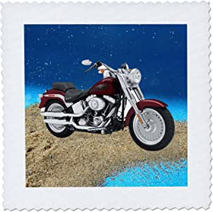 3dRose qs_4851_3 Quilt Square Picturing Harley-Davidson® Motorcycle
