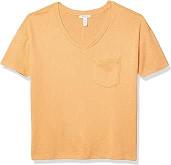亚马逊品牌:Daily Ritual 女士时尚T恤棉莫代尔弹力粗纺短袖 V 领口袋 T 恤