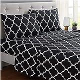 Mellanni 床单套件 拉绒超细纤维 1800 床上用品 - 深口袋,防皱,防污渍 - 低*性 Quatrefoil 黑色 Queen 603803802835