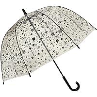smati STICK 透明雨伞–防风–birdcage 圆顶透视花朵条纹星星狗猫)
