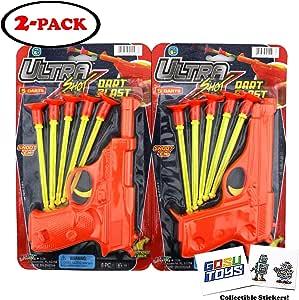 Suction 飞镖枪玩具枪 适合儿童使用橡胶镜子 弹药枪塑料弹枪 配有橡胶吸头(2 只装)