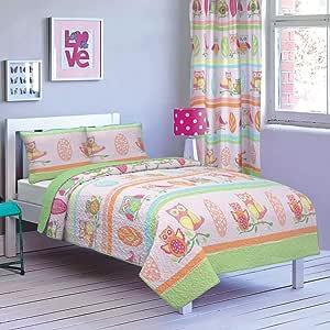 All American Collection 全新 2 件套印花现代床单被套装 Pink/Green Owls Twin Bedspread