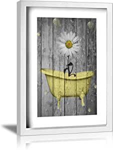 "Ale-art 雏菊花泡黄灰色复古质朴帆布油画墙壁艺术装饰浴室家居装饰现代拉伸带框艺术微喷帆布图片印刷艺术品 Daisy Flower Bubbles Yellow Gray frame 9""x13"" Pdpzc-116687766-WhiteAndWhite-48"