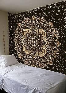 Madhu International 新推出的蓝金激情渐变曼陀罗挂毯,波西米亚曼陀罗挂毯,壁挂,吉普赛挂毯,多色 黑色 Small(54x60Inches)(140x155Cms) small black gold passion
