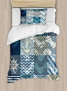 Ambesonne Arrow 被套套装,罗盘插图箭头 卡通之旅 永远北方,装饰床上用品套装带枕套,蓝绿色浅橙色蓝色 Multi 2 两个 nev_16728_twin