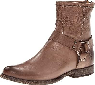 FRYE Phillip Harness 女士及踝靴 灰色柔软复古皮革-76870 7 M US
