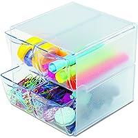 Deflecto 美国迪多 塑料 收纳盒 带两层四格小抽屉 透明 350301