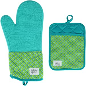 Krumbs 厨房图案硅胶锅垫和烤箱手套套装 * 均码 DM-KKPOKIT-GRN